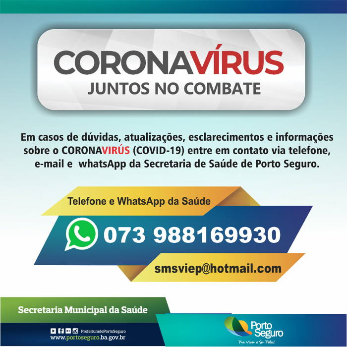 Whatsapp do secretaria municipal de saúde de Porto Seguro