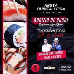 panfleto Rodizio de Sushis + Luciano Sanfoneiro & Tiago Lacerda
