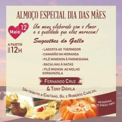 panfleto Almoço Especial Dia das Mães - Fernando Cruz e Tony Dávila